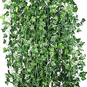 HOOPE 12 Pack Ivy Artificial Plant Hanging Vine Leaves Wall Decor for Wedding Patio Yard Garland Home Greenery Decoration, 84 Ft Outside and Inside Backdrop Decor 106