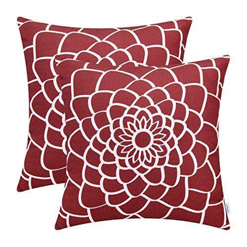 CaliTime Pack of 2 Soft Canvas Throw Pillow Covers Cases for Couch Sofa Home Decor Dahlia Floral Outline Both Sides Print 20 X 20 Inches Dark Red (Couch Sale For Pillows Red)