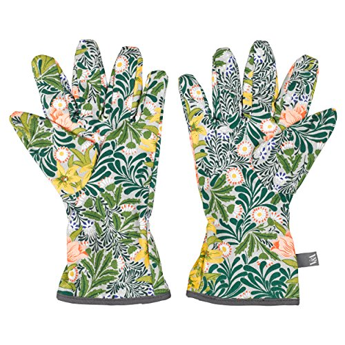 V&A AVA038 William Morris 100% Cotton Gardening Potting Hand Gloves, One Size, Green