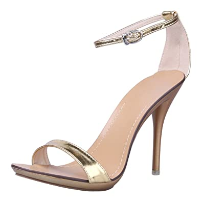 af0b787f8cac OCHENTA Women s Classic Dancing Stiletto High Heel Open Toe Ankle Strap  Sandals Gold Size ...