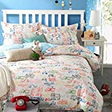 LELVA Cars Print Bedding Set Kids Bedding for Boys Cotton Colorful Bedding Boys Duvet Cover Set 4pcs (Queen, Fitted Sheet Set)