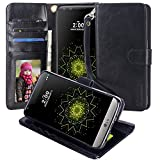 LG G5 Case, Moze LG G5 Wallet Case [4 Card Slots ] [Wrist Strap] [Stand Feature] PU Leather Flip Wallet Case Cover for LG G5 (Black)
