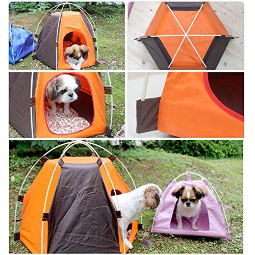 Pet House Folding Cat Dog House Portable Waterproof Pet Tent Indoor & Outdoor Small Animals Shelter Lovely for Small Dog and Cat by ZMVA (Image #3)