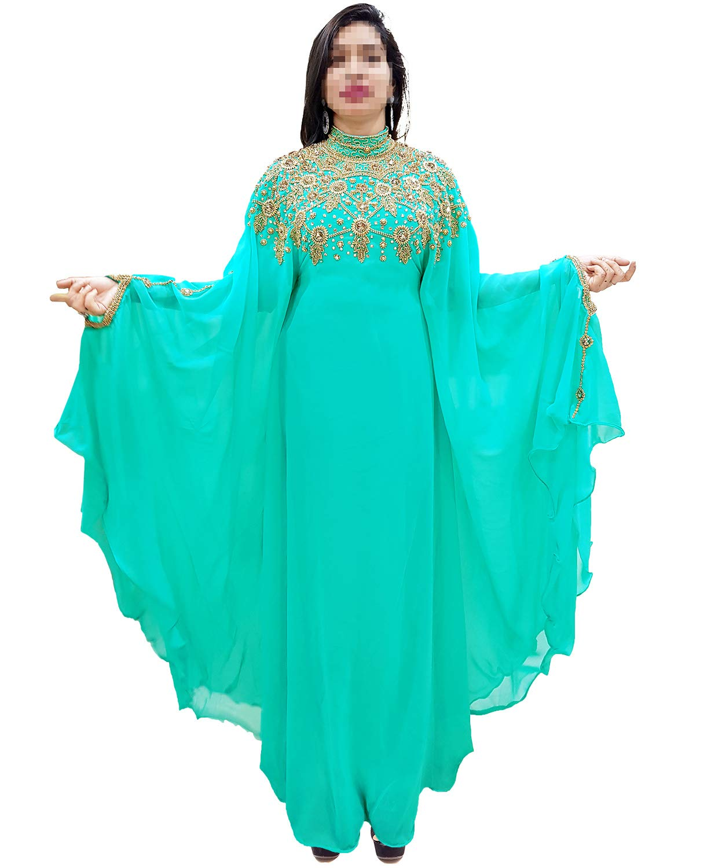 African Boutique Dubai Kaftan Abaya Jalabiya Maxi Gown Hand Work Golden Beaded African Dress - Sea Green