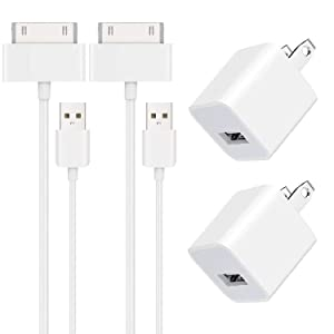 iPhone Charger USB Wall Charger Power Adapter with Extra Long 6FT 30 Pin Charging Cable Power Cord Compatible with iPad 1/2/3, iPhone 4/4S/3/3S,iPod Nano,iPod Touch(2Pack)