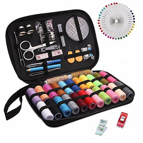 Sewing Kit, Over 130 DIY Premium Sewing Supplies, Zipper Portable & Complete Mini Sew Kit for Traveller, Adults, Beginner, Emergency - Filled with Mending Supplies and Sewing Accessories