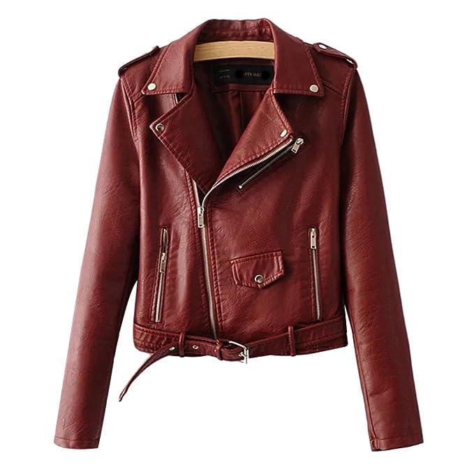 Zhhlinyuan Fashion Designer PU Leather Chaqueta Moto Mujer Zipper Slim Biker Winter Coats Warm for Women Multicolor: Amazon.es: Ropa y accesorios