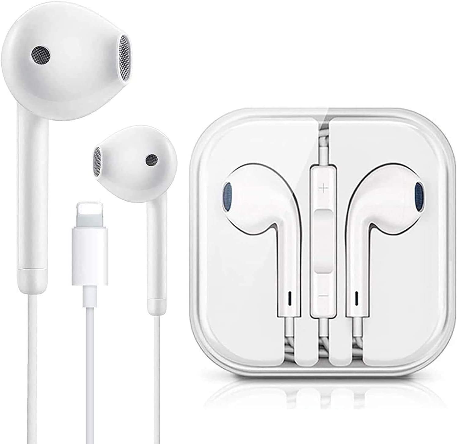 Lighting Connector Earbuds Earphone Wired Headphones Headset with Mic and Volume Control,Compatible with Apple iPhone 11 Pro Max/Xs Max/XR/X/7/8/8 Plus and Play Head Cleaners
