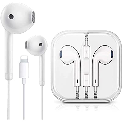 Earbuds Earphones Wired Stereo Sound Headphones for iPhone with Microphone and Volume Control,Active Noise Cancellation Compatible with iPhone 11Pro//12//7//8plus//X//iPod//xs White