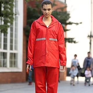 SJSEB Chubasquero Impermeable Impermeable Impermeable Mujeres Hombres Traje Impermeable + Pantalones Conjunto De 2 Piezas Impermeables Mujeres Impermeable De La Motocicleta Poncho, Rojo, L