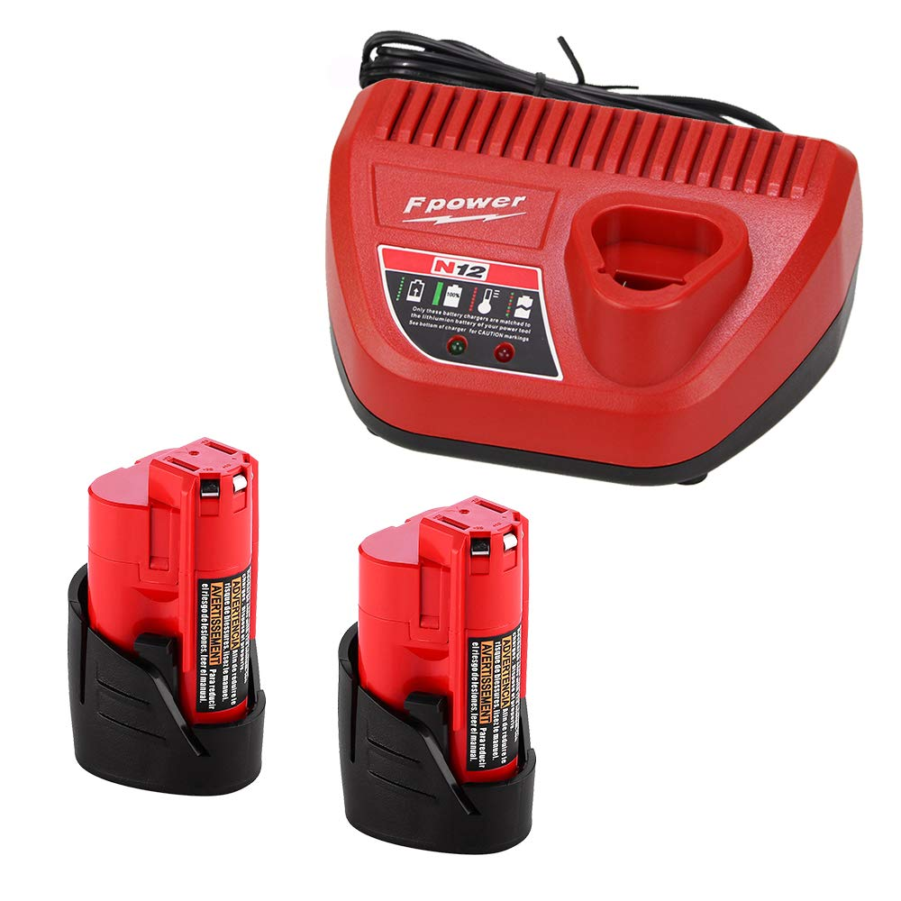 Fhybat Replacement for Milwaukee M12 Battery and Charger, 12v 1500mAh Lithium-ion 48-11-2411 Batteries, 12 Volt Rapid Red 48-59-2401 Charger with LED Indicating