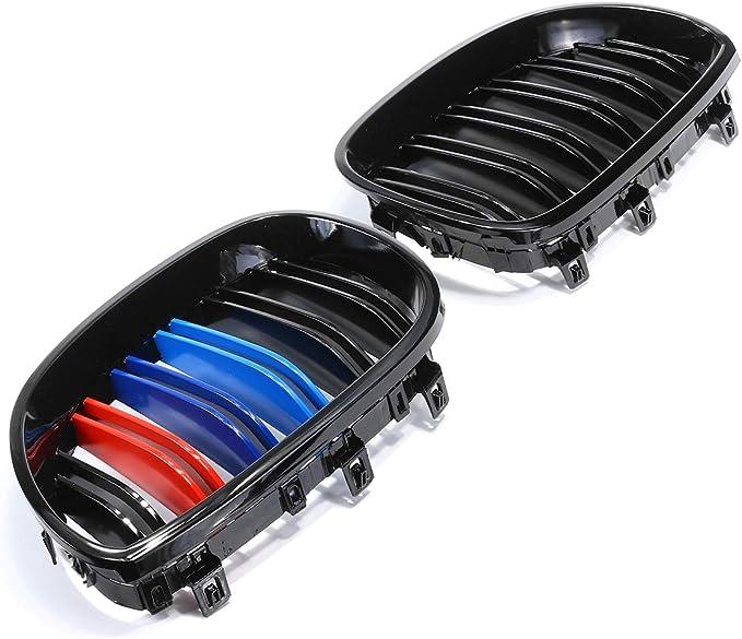 Viviance Par Nuevo Brillo Negro M-Color Frente Ri/ñ/ón Rejilla Parrilla para BMW E60 E61 03-10
