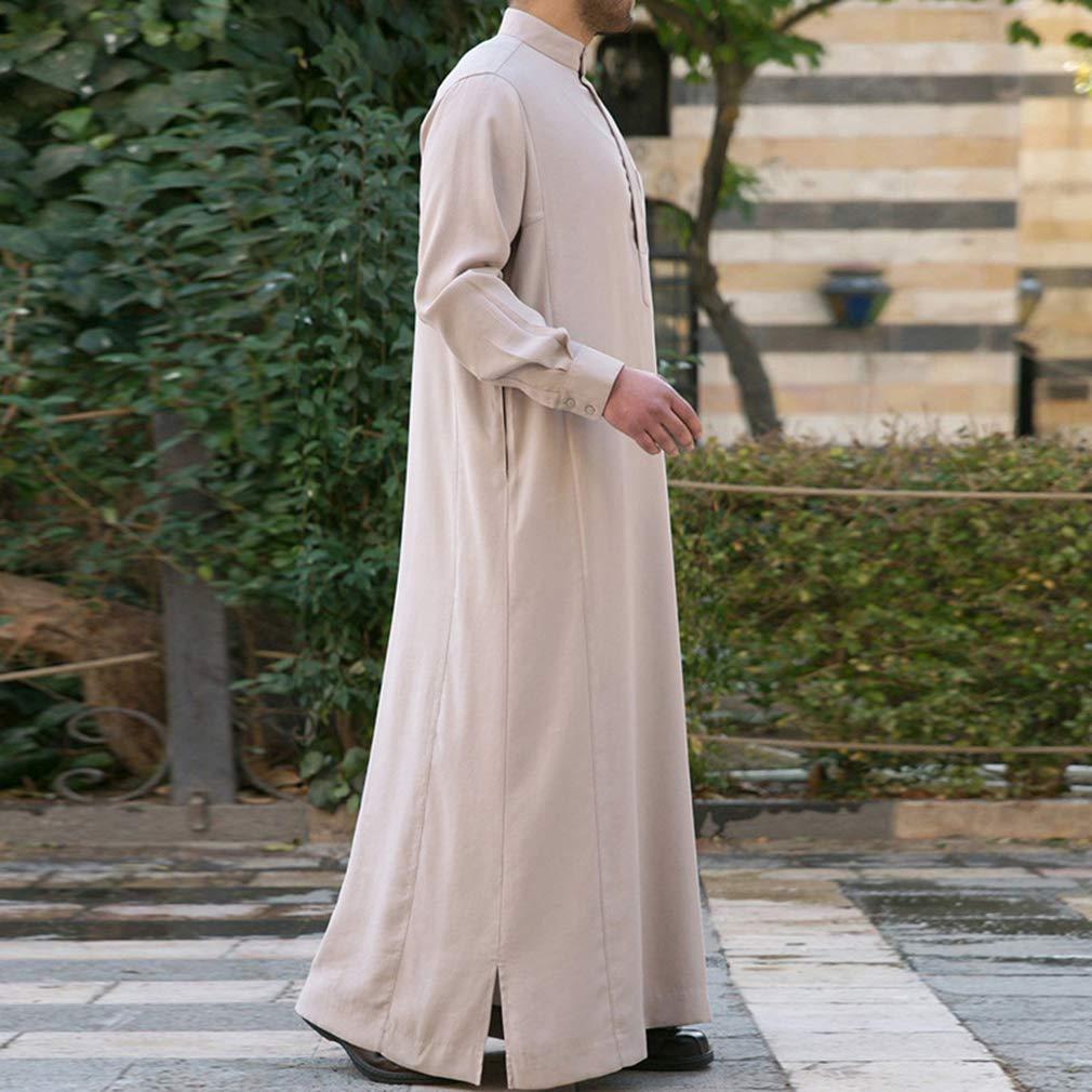 Hongxin Uomo Abito Musulmano Abbigliamento Islamico Dubai Saudita Arabo Caftan Robe Colletto Dritto Tinta Unita Robe Manica Lunga Sciolto Camicia con Tasche