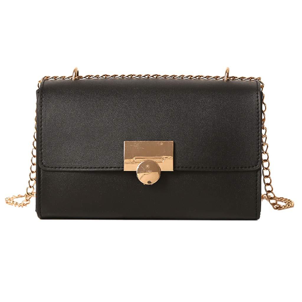 Severkill Women's Fashion Leather Pure Color Versatile Chain Shoulder Bag Messenger Bag