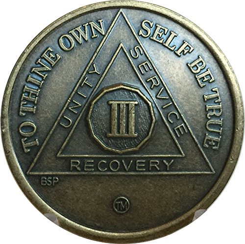 Bright Star Press 3 Year Antique Bronze AA Medallion Alcoholics Anonymous Sobriety Chip