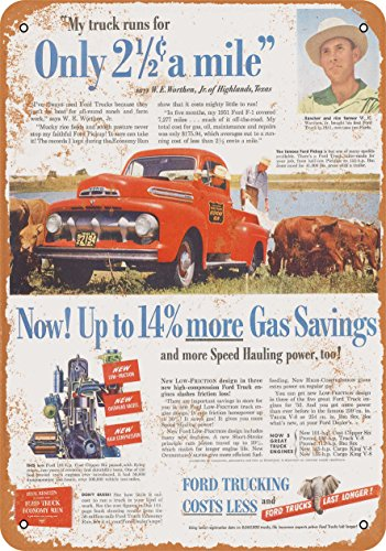 Wall-Color 9 x 12 Metal Sign - 1952 Ford Trucks Gas Savings - Vintage Look