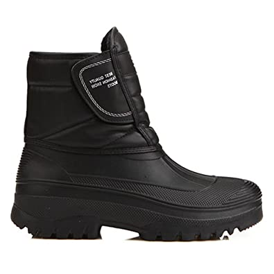 Amazon.com | New Mens Black Warm Waterproof Winter Snow Rain Boots ...
