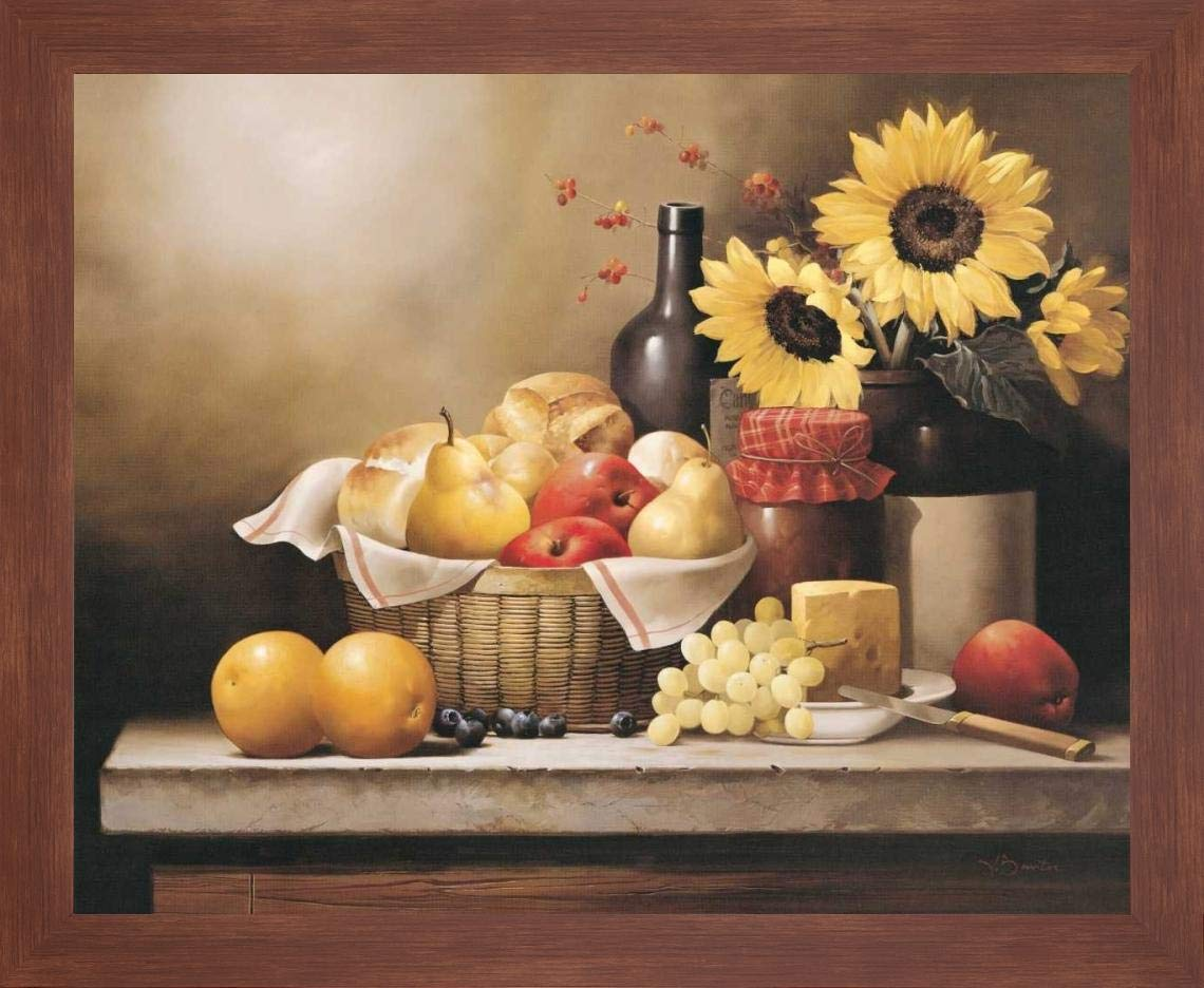 """On The Kitchen Table by Victor Santos - 13"""" x 16"""" Framed Giclee Canvas Art Print Walnut Finish - Ready to Hang"""