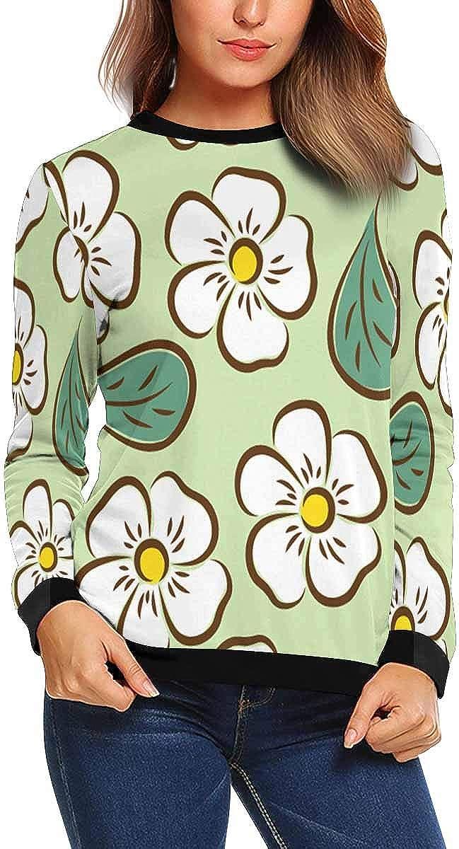 XS-XL INTERESTPRINT Womens Crew Neck Long Sleeve Pullover White Flowers Leaves Lightweight Tops Sweatshirt