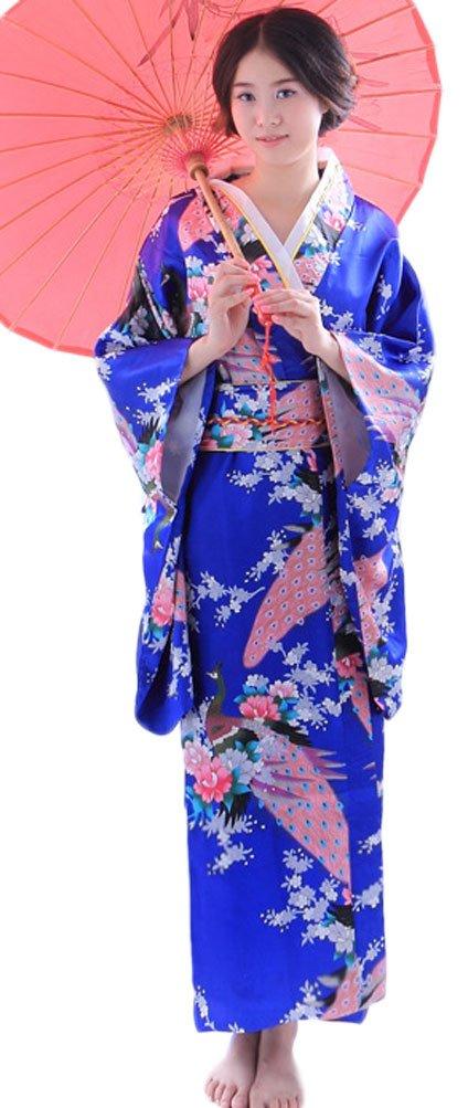 Soojun Women's Traditional Japanese Kimono Style Robe Yukata Costumes 1 Blue