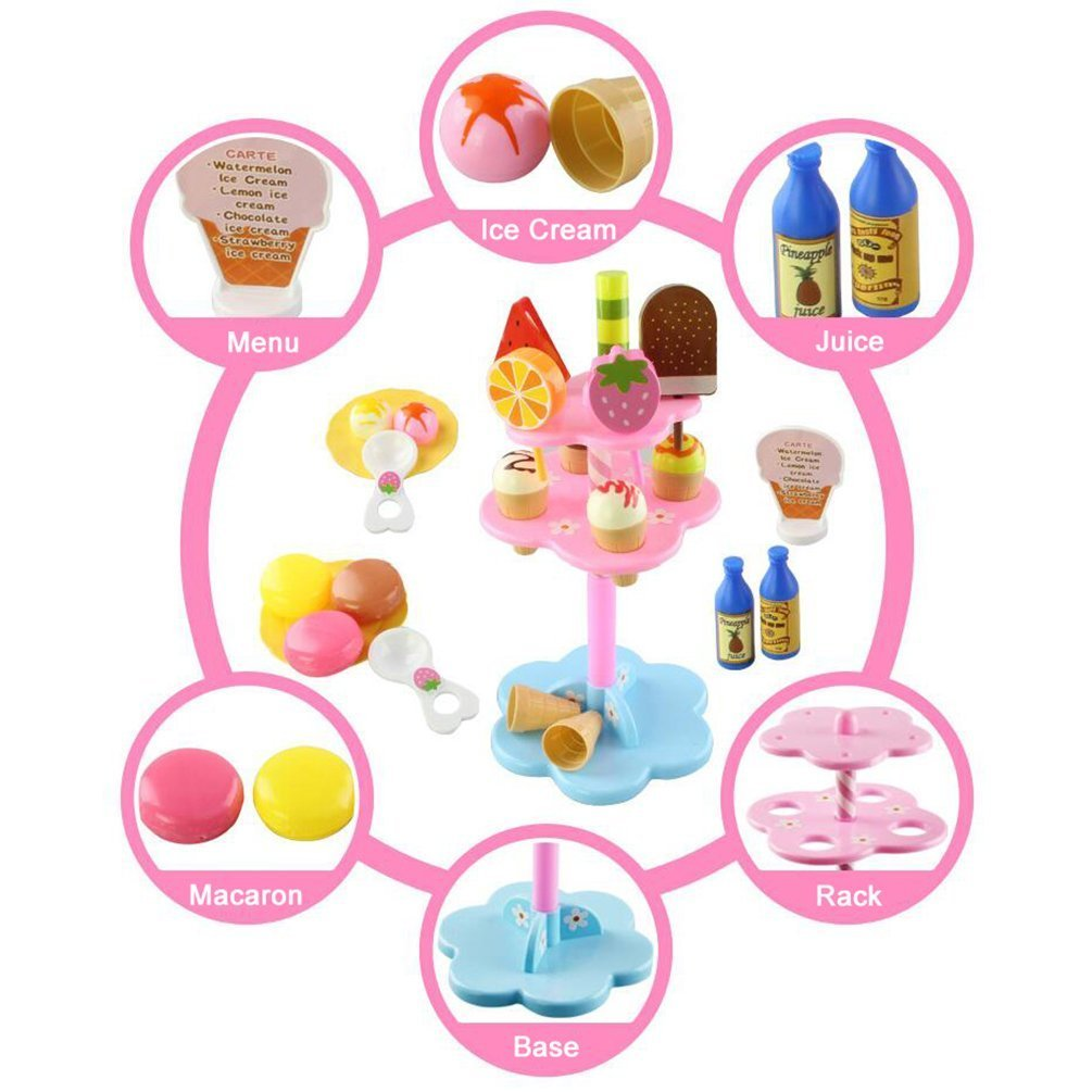 Role Play Toy 22 PCS DIY Desserts & Ice Cream Lolly Stand Pretend Play Set Food Toys House Toys for Children Girls Aged 3 and Up