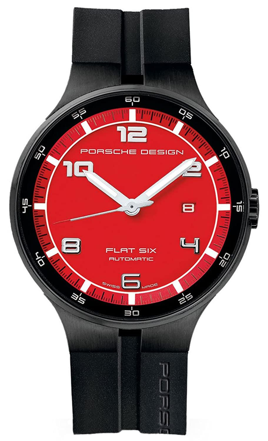 Porsche Design Flat Six Automatic Black PVD Steel Mens Watch Calendar Red Dial 6350.43.74.1254