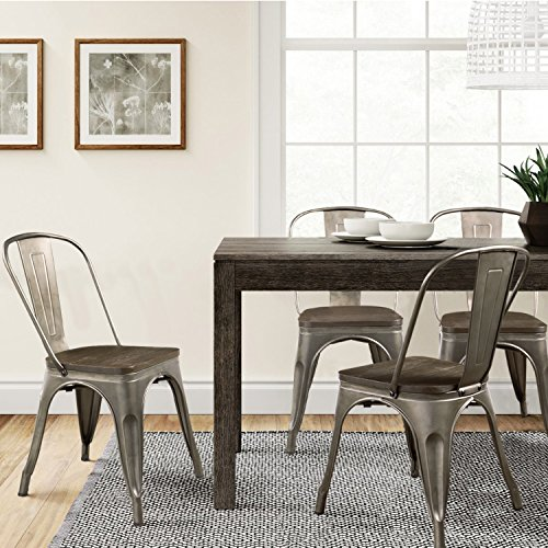 Furmax Metal Dining Chair with Wood Seat,Indoor-Outdoor Use Stackable Chic Dining Bistro Cafe Side Metal Chairs Set of 4 (Gun) by Furmax (Image #6)