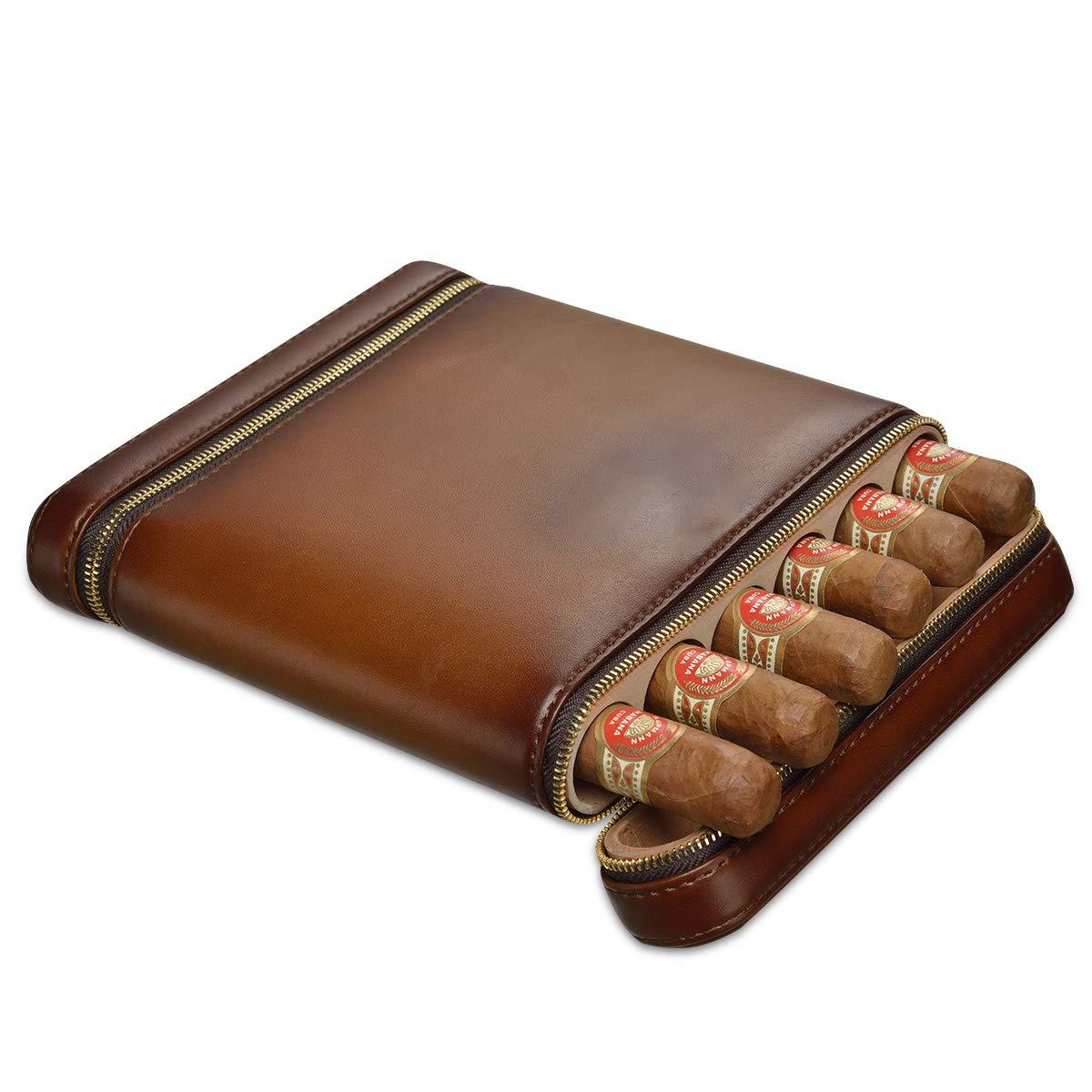 CIGARLOONG Cigar Humidor Travel Case Built-in Cedar Wood Portable 6 Cigars Box(Brown)