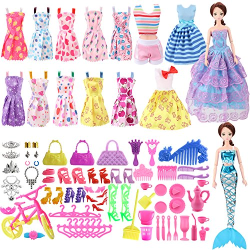 lothes Set Include 15 Pack Barbie Clothes Party Grown Outfits and Different Barbie Doll Accessories for Little Girl ()