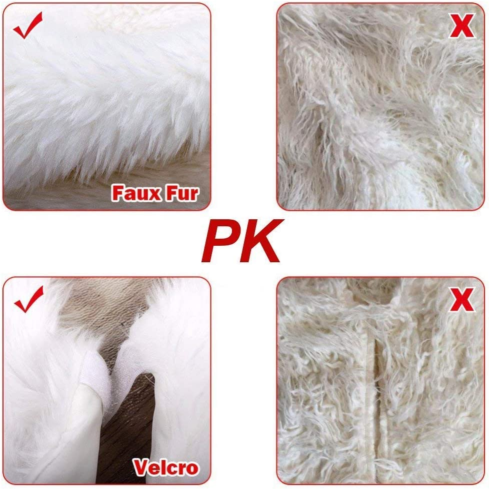 Faux Fur Large Plush White Round Base Mat Xmas Decorations for Your Christmas Tree Christmas Tree Skirts Fits Any Size Tree 36 inch