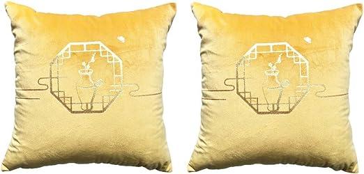SEHUNN 45x45 Fundas Cojines Terciopelo Funda para Cojines Estilo Chino Estampado En Caliente Patrón Fundas Cojín Pack De 2 Decoración del Hogar Sofa Almohada Cremallera Oculta Yellow: Amazon.es: Hogar