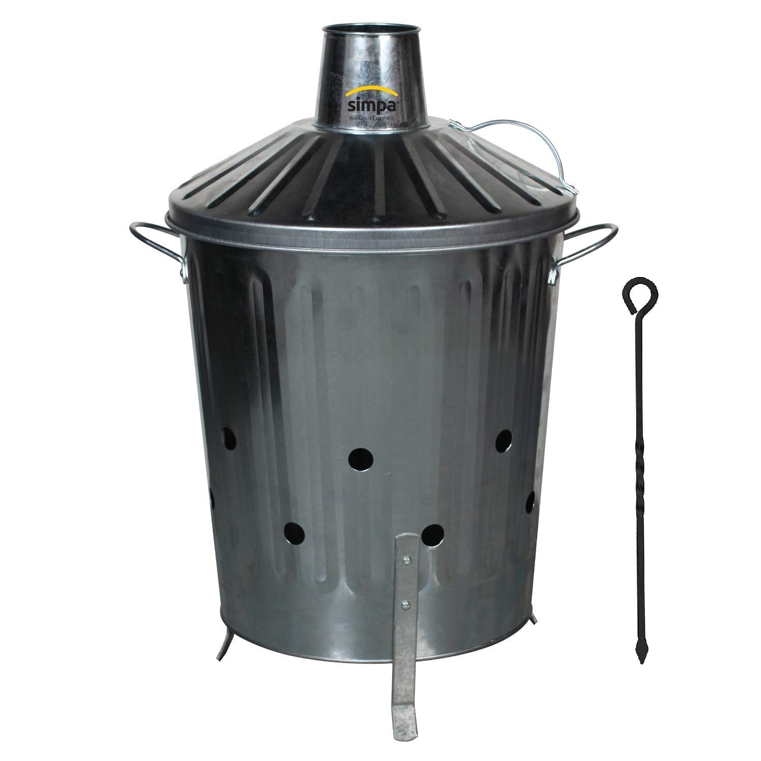 CrazyGadget® Small Medium Large Extra Large Galvanised Metal Incinerator Fire Burning Bin with Lid + Free Ash Poker (15L)