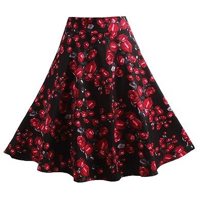 Fancyqube(TM) Women Pleated Vintage Skirts Floral Print Midi Skirt ...