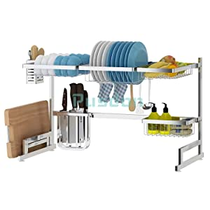 "Over Sink(33"") Dish Drying Rack, Drainer Shelf for Kitchen Supplies Storage Counter Organizer Utensils Holder Stainless Steel Display- Kitchen Space Save Must Have (Sink size≤33 1/2 inch, silver)"