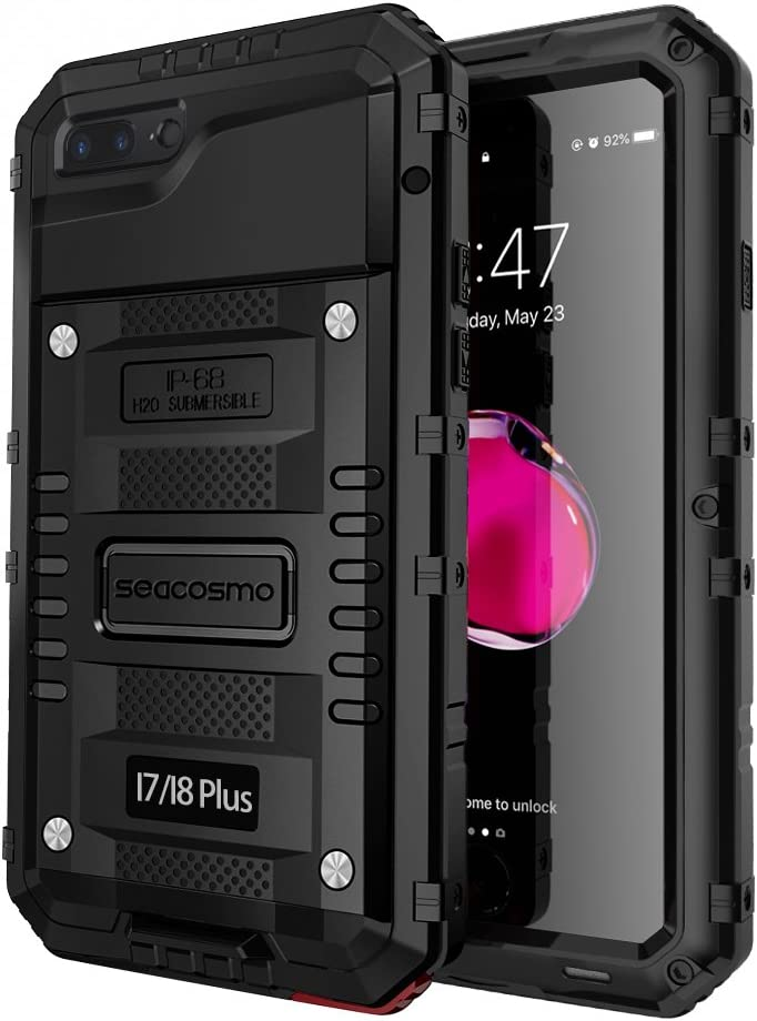 iPhone 7 Plus Waterproof Case Seacosmo Full Body Protective Shell with Built-in Screen Protector Military Grade Rugged Heavy Duty Case Cover for iPhone 8 Plus//iPhone 7 Plus Black