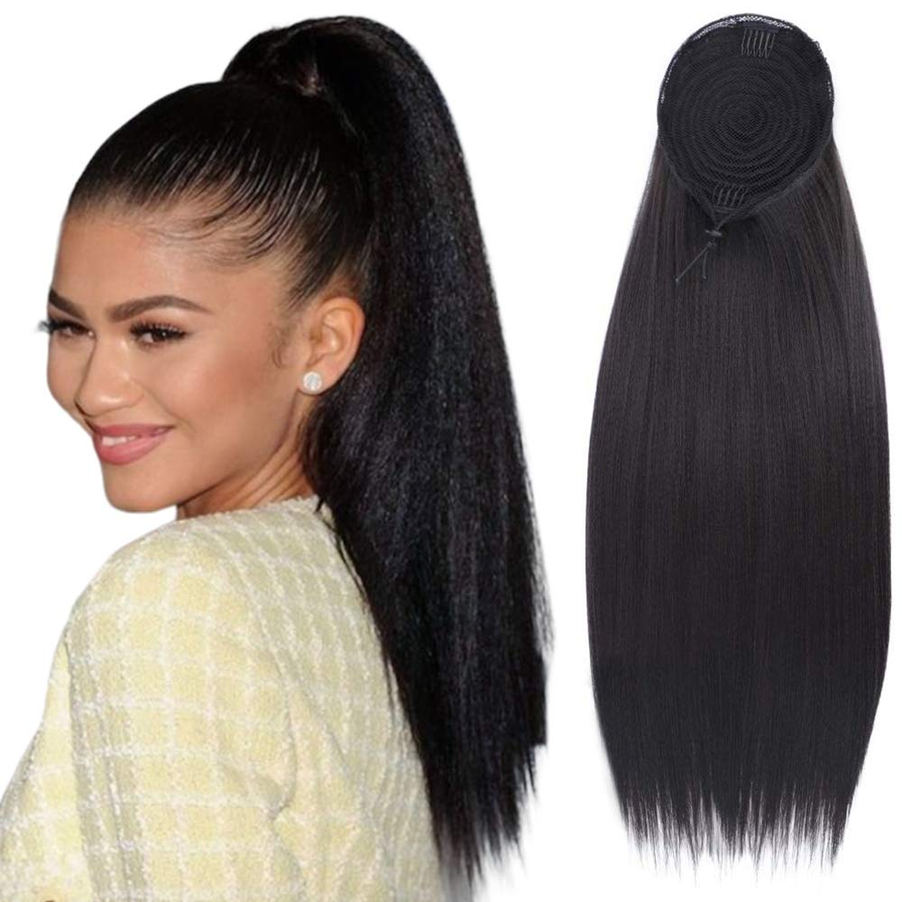 Stamped Glorious Long Ponytail Extension Synthetic Straight Drawstring Ponytail for Women Black Color Kinky Straight Clip in on Ponytail Externsion (22 Inches)