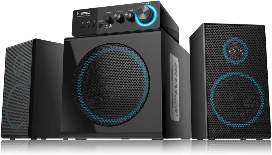 ineo Wooden 2.1 Gaming/PC Speakers with Subwoofers and Individual Control Box (W301)