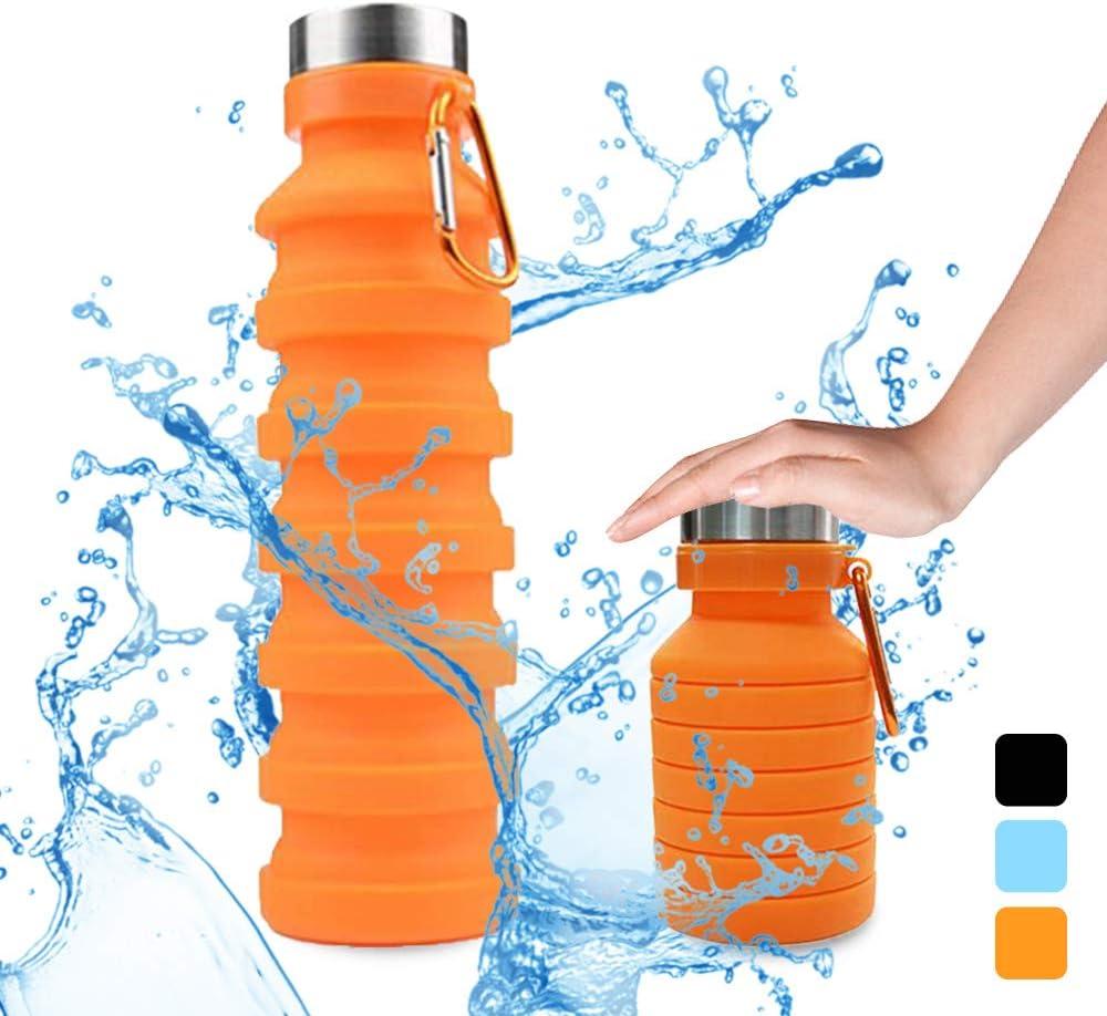 STLOVe Botella Plegable, Botella de Agua Plegable Suave Silicona de Grado Alimenticio Botella de Agua Deportiva para Viajar Alpinismo Ciclismo,para Ciclismo, Deporte, Exterior, Camping