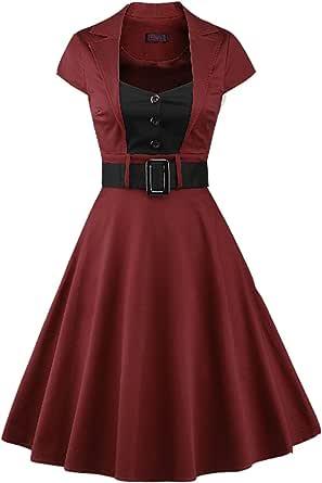 MuchXi Retro 1950s Cocktail Dresses Classy Audrey Hepburn Vintage Swing Dress with Cap-Sleeve