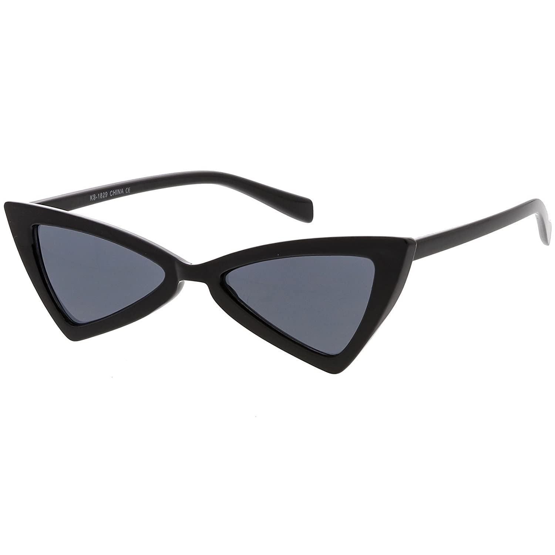 efad62acdd862 Amazon.com  sunglassLA - Small Retro Triangle Cat Eye Sunglasses For Women  Neutral Colored Lens 51mm (Black Smoke)  Clothing