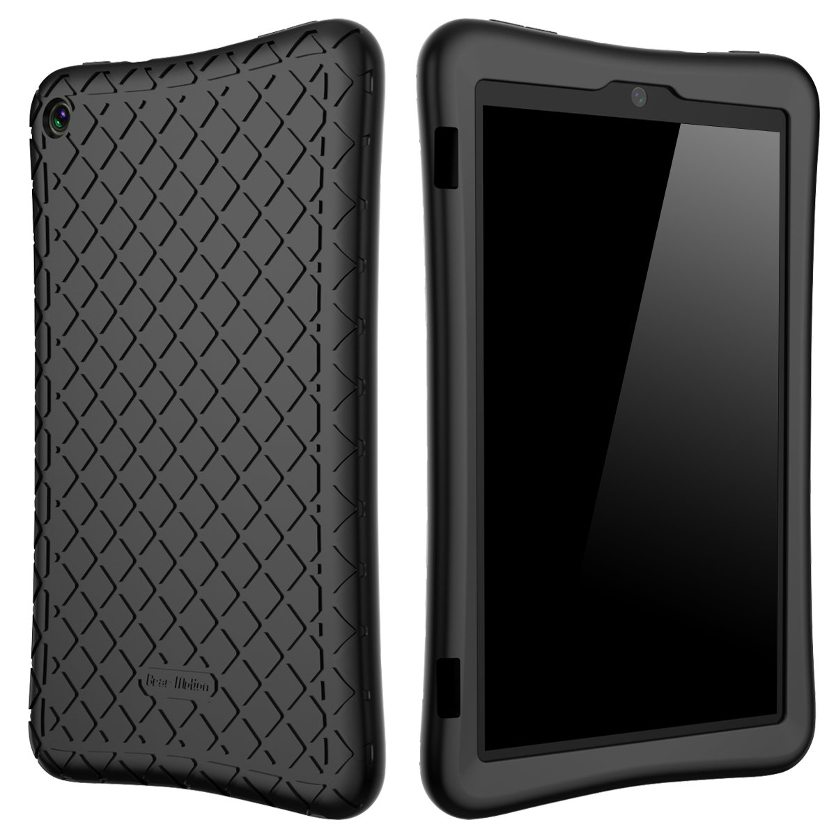 Bear Motion Silicone Case for Fire HD 8 2017/2018 - Anti Slip Shockproof Light Weight Kids Friendly Protective Case for All-New Fire HD 8 Tablet with Alexa (7th / 8th Gen 2017/2018 Model) (Black)