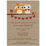Bridal Shower Invitations, Autumn, Owls, Burlap, Fall, Wedding, Orange, Pumpkin, Country, Chic, Rustic, Personalized, 10 Custom Printed Invites with Envelopes, Look Whoos Getting Married