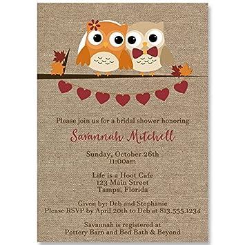 bridal shower invitations autumn owls burlap fall wedding orange