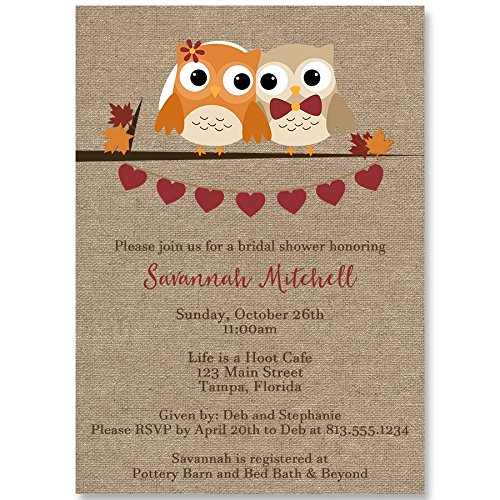 Leaves Wedding Invitation Fall (Bridal Shower Invitations, Autumn, Owls, Burlap, Fall, Wedding, Orange, Pumpkin, Country, Chic, Rustic, Personalized, 10 Custom Printed Invites with Envelopes, Look Whoos Getting Married)