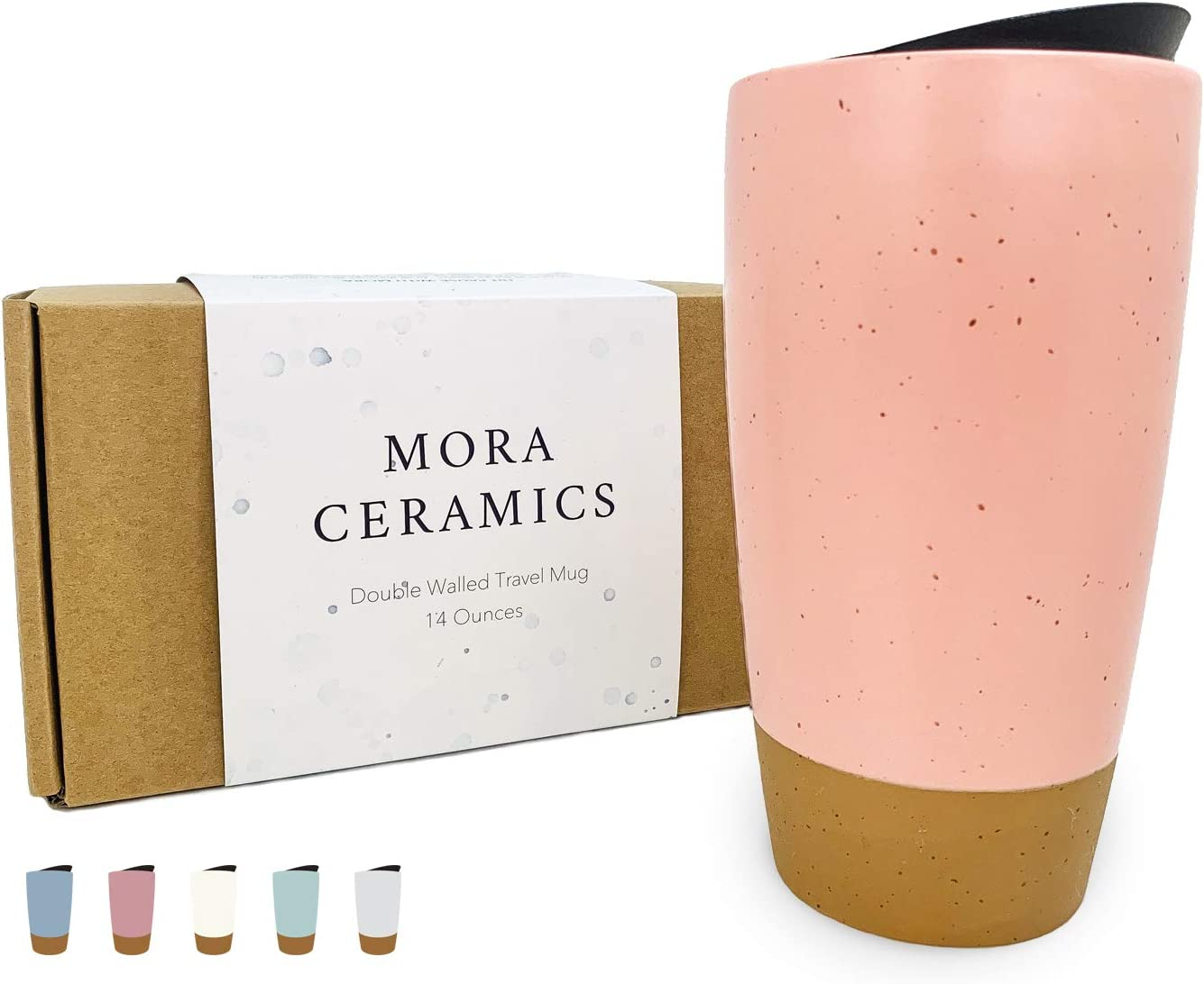 Mora Double Wall Ceramic Travel Coffee Mug with Lid, 14 oz, Portable, Microwave, Dishwasher Safe, Insulated Reusable Tall Cup, Splash Proof Spinning Lid - To Go Tumbler for Car Cup Holder, Pink Salt