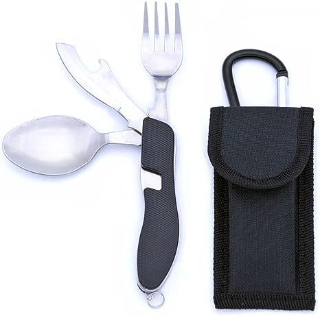 Set posate viaggio cucchiaio coltellio forchetta apriscatole coltellino svizzero