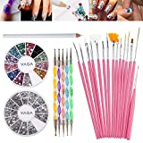 Great Quality Professional Nail Art Decorations Tools Set Kit With White Wax Rhinestones Picker Pencil / Pen, Silver Gemstones, Jewels In 12 Different Colors, 15 Pink Brushes / Stripers / Liners And 5 Double Ended Dotting Marbling Utensils By VAGA