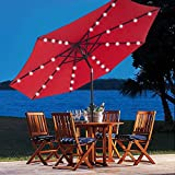 9 ft Outdoor Solar Powered 32 LED Lighted Patio Table Umbrella with Push Button Tilt Adjustment and Crank System 8 Rib 9 foot Solar Led Lights Steel Deluxe Market Umbrella Sunbrella Fabric Red