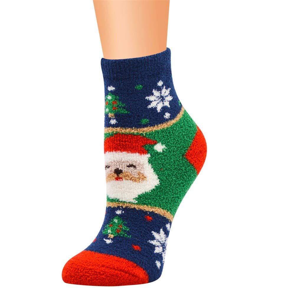 Sannysis Christmas Stockings, Casual Work Business Socks Christmas Printing Coral Fleece Medium Sports Socks (Navy)
