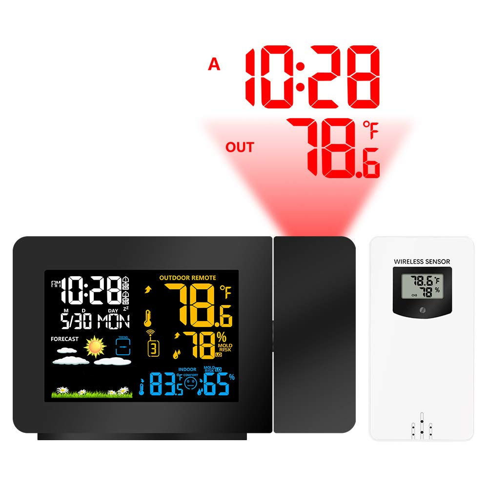 Projection Weather Clock, Radio Controlled Clock, Weather Monitor Indoor/Outdoor Thermometer, LED Display with Dimmer,EUPlug by CWWHY